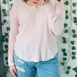 Baby Pink Long Sleeve Button Up Long Sleeve Henley